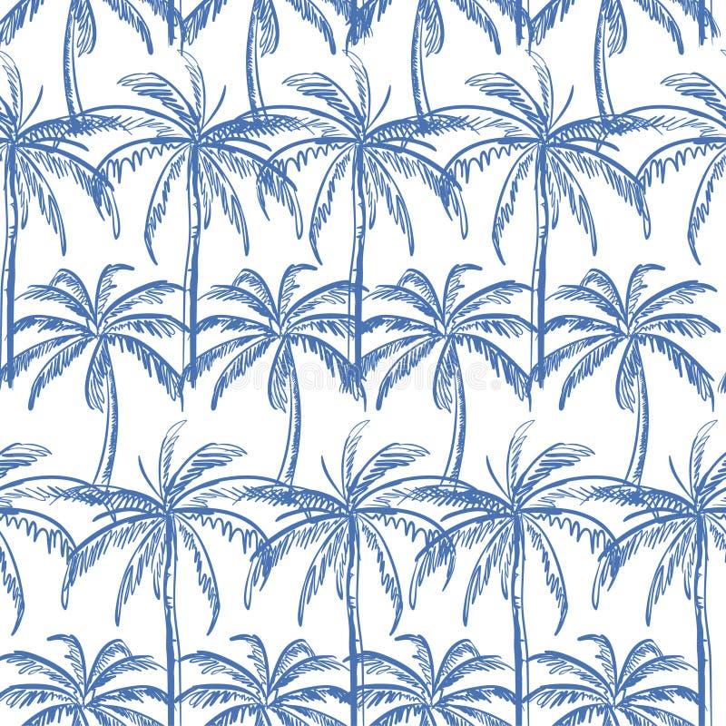 天蓝色概述在白色背景的棕榈树 向量例证