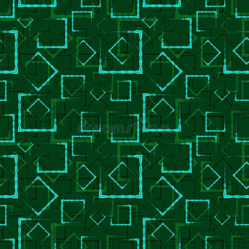 天蓝色的被雕刻的正方形和框架的抽象绿色背景或样式 皇族释放例证