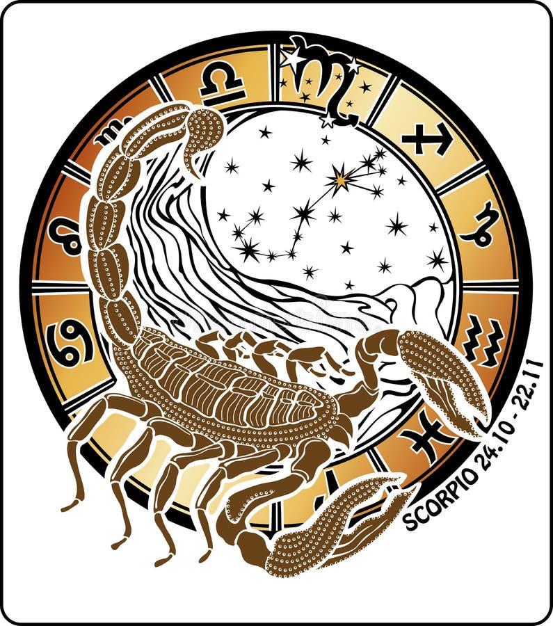 天蝎座黄道带标志。占星圈子 库存例证
