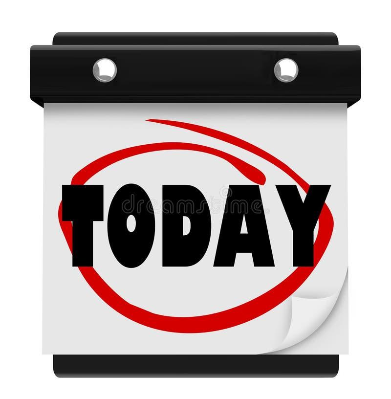 今天词挂历现在提示日程表 库存例证