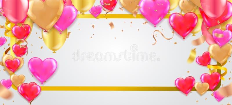 天销售背景 与心脏、气球和小珠的浪漫构成 网站的,海报,广告,优惠券传染媒介例证, 库存例证