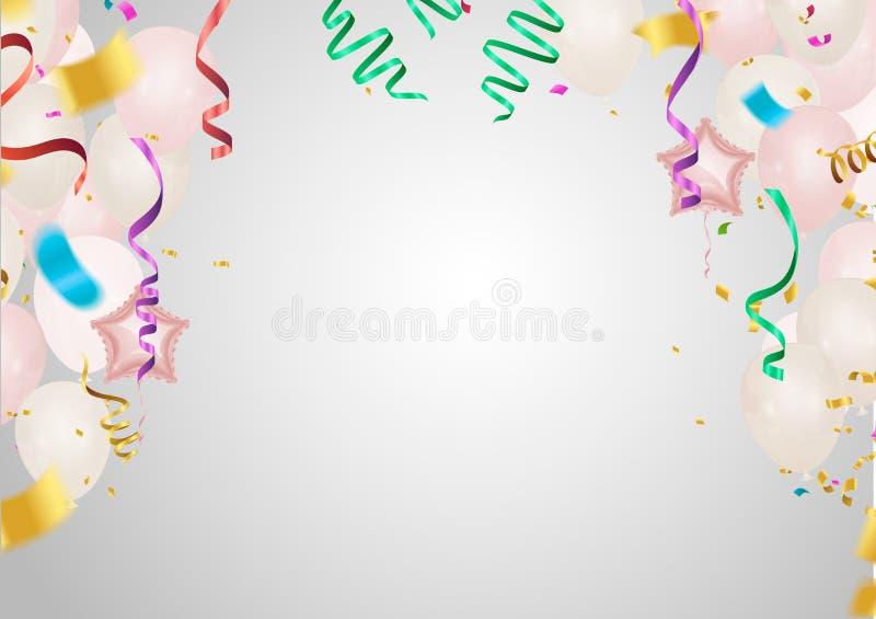 天销售背景 与心脏、气球和小珠的浪漫构成 网站的,海报,广告,优惠券传染媒介例证, 皇族释放例证