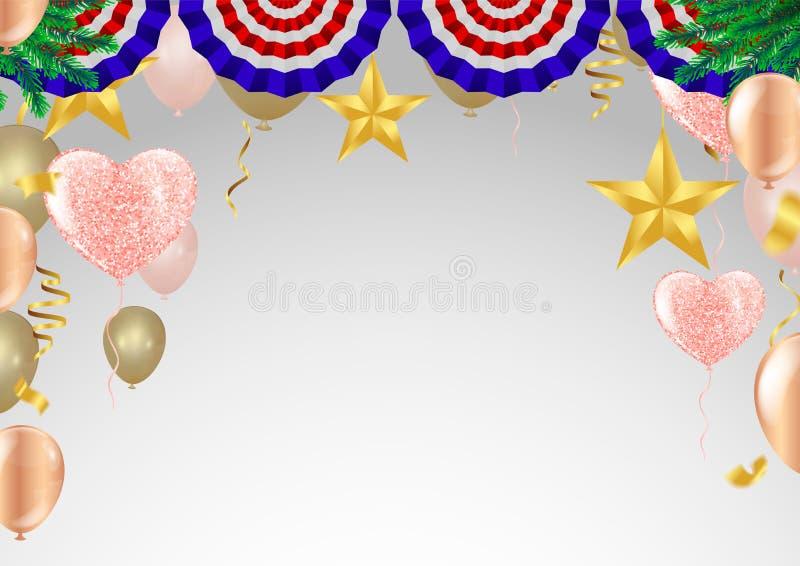 天销售背景 与心脏、气球和小珠的浪漫构成 网站的,海报,广告,优惠券传染媒介例证, 向量例证