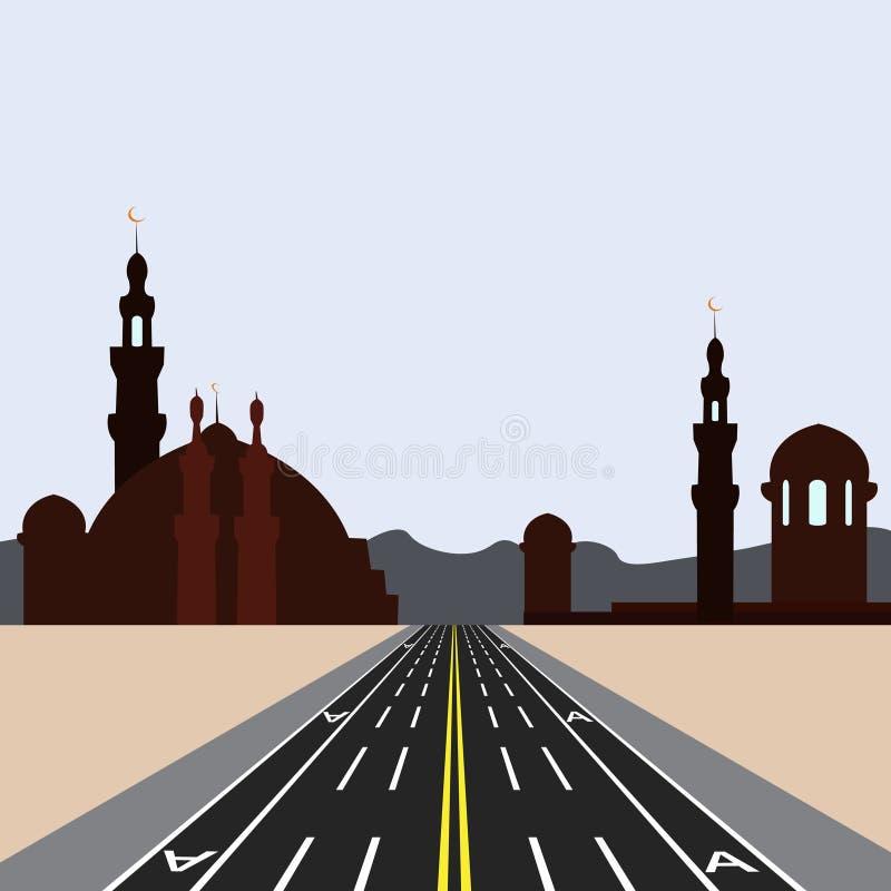 天际的东城 有标注的直路高速公路 公共交通工具例证的热忱的车道 向量例证