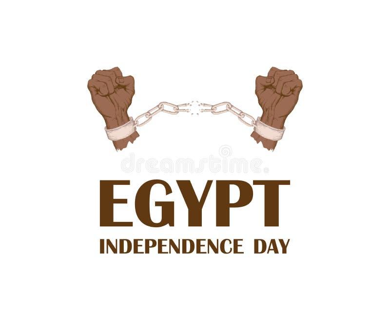 天革命在埃及 7月23日 国家独立天在非洲 手断裂链子,手铐 拉长的现有量 皇族释放例证