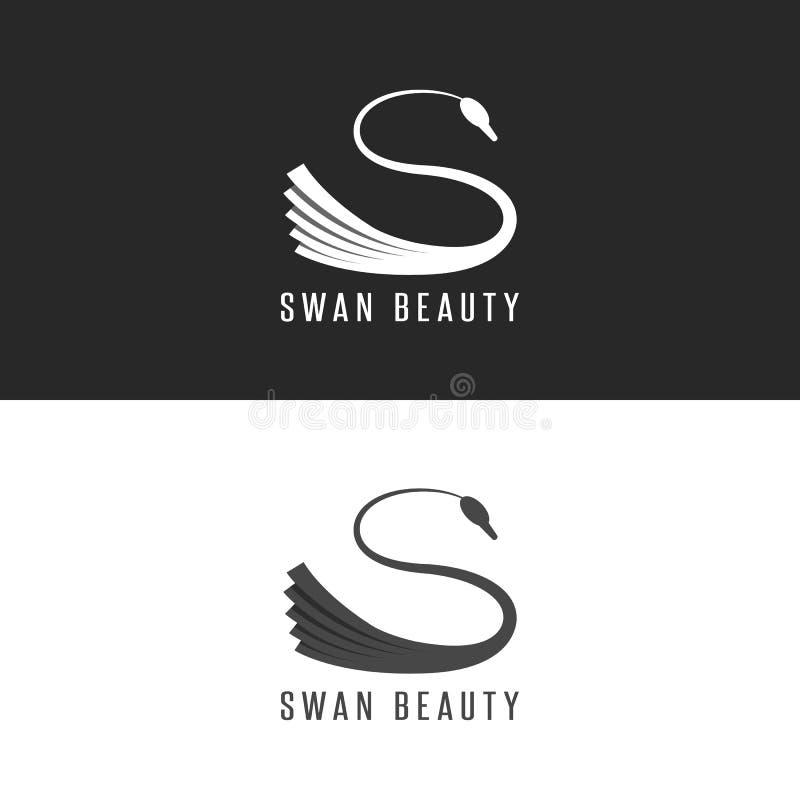 天鹅商标大模型,发廊重叠与阴影黑白图形设计元素的鸟象征 皇族释放例证