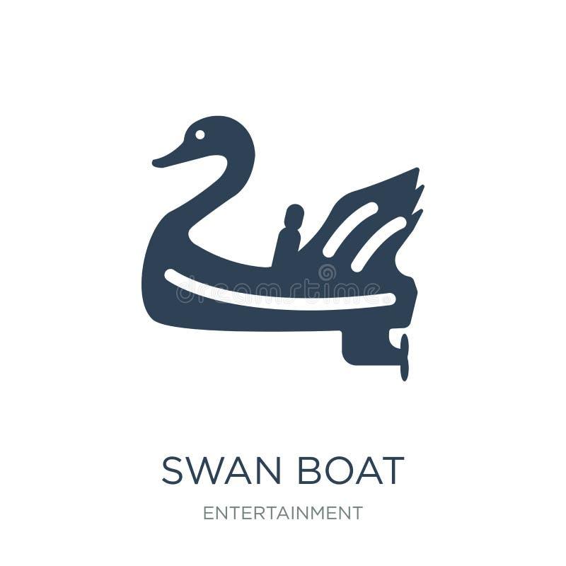 天鹅在时髦设计样式的小船象 天鹅在白色背景隔绝的小船象 天鹅小船传染媒介象简单和现代舱内甲板 库存例证