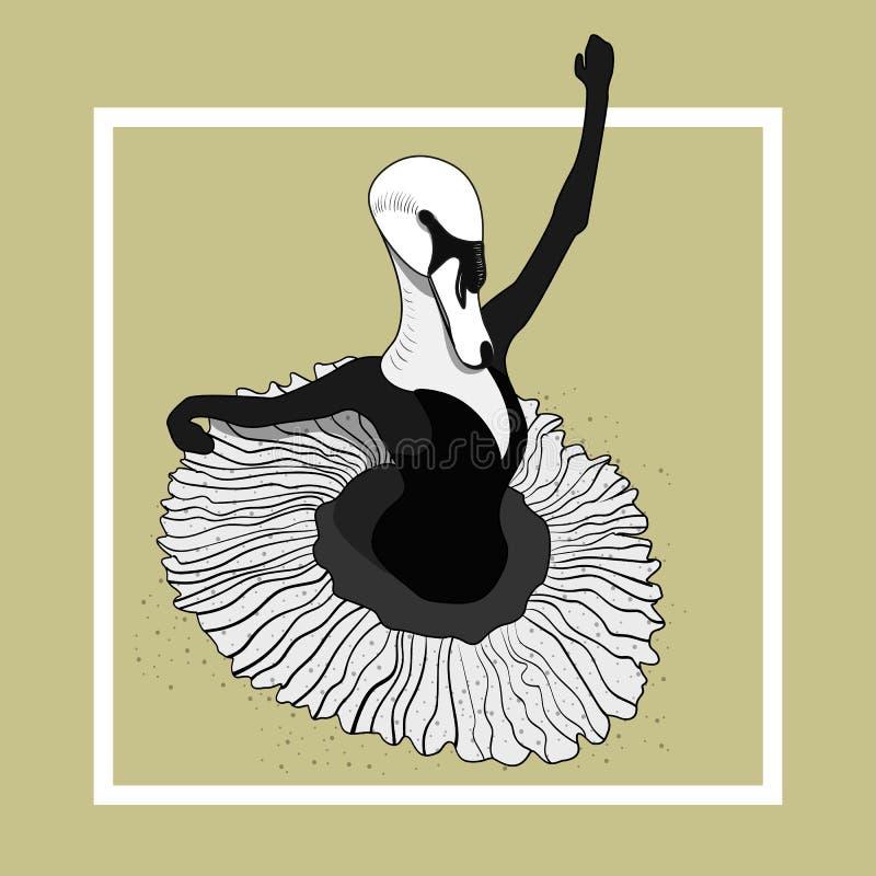 天鹅在裙子的芭蕾舞女演员跳舞 向量 向量例证