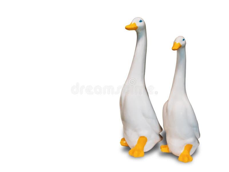 天鹅玩偶由陶瓷制成为装饰 免版税库存照片