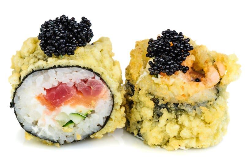 天麸罗热的油煎的寿司maki 库存照片