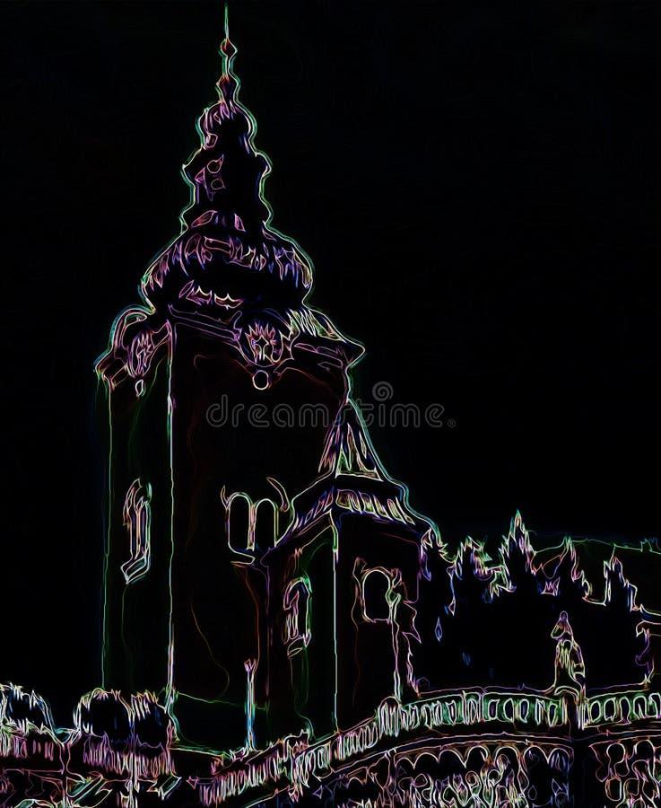 天主教会大厦,建筑统治城市,从绘画的图表在黑背景 向量例证