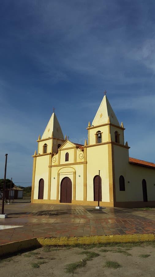 天主教会,在Falcà ³ n状态委内瑞拉的老殖民地建筑学 库存图片