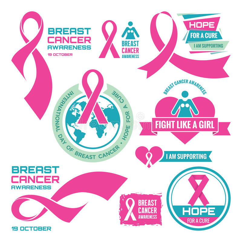 天10月19日-国际乳腺癌-被设置的创造性的传染媒介徽章 乳腺癌了悟 对治疗的希望 向量例证