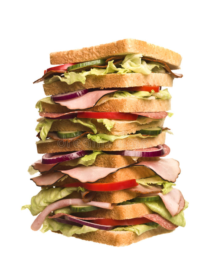 太大的三明治 免版税库存照片