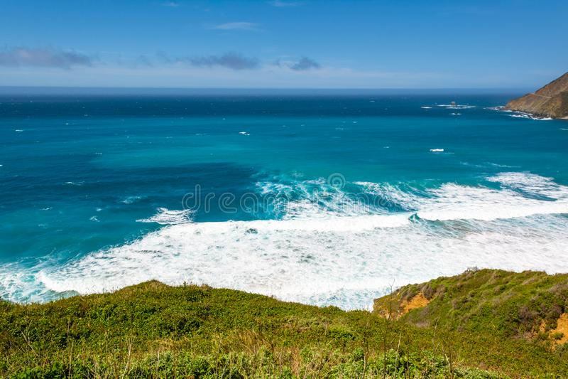 太平洋海岸和海洋,美国加利福尼亚州景观 免版税库存照片