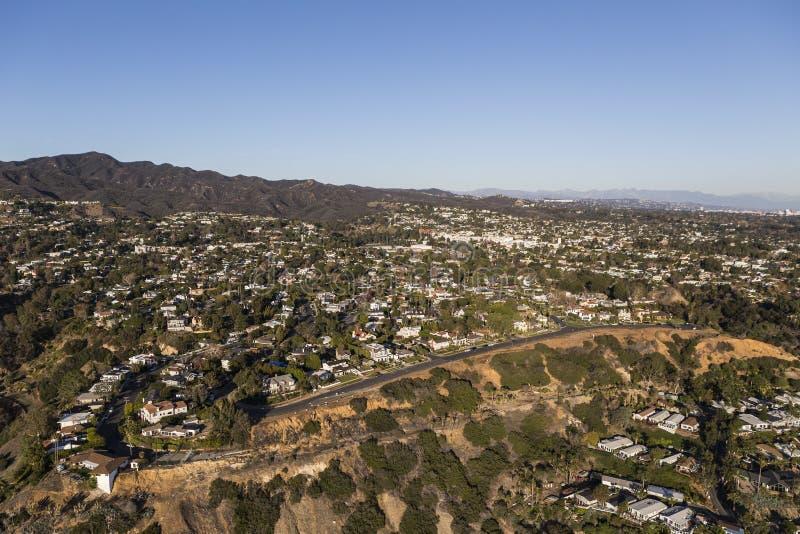 太平洋Palisades天线和圣莫尼卡山在洛杉矶加利福尼亚 免版税库存照片