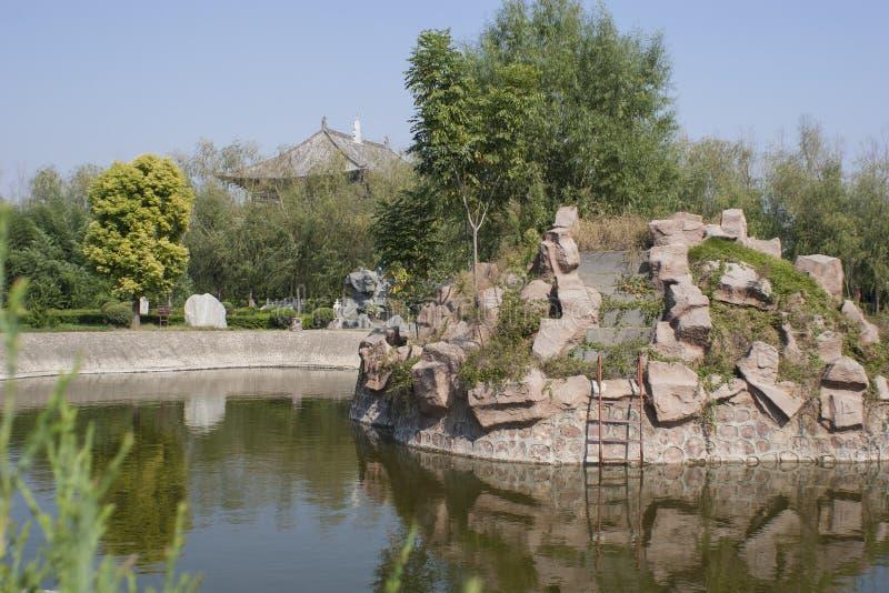 太昊陵墓中国山和水庭院  免版税库存图片
