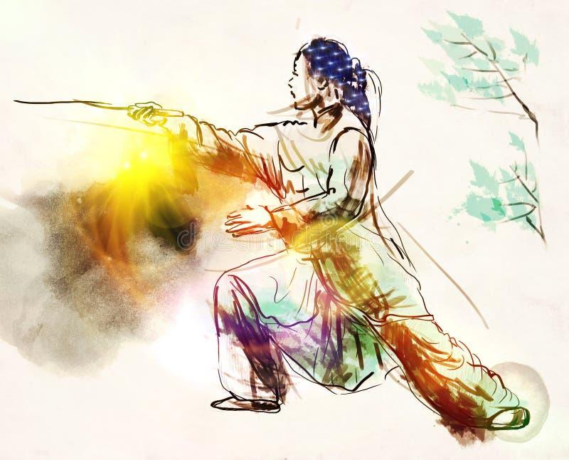 太极队(太极拳) 一大型手拉的illustra 皇族释放例证