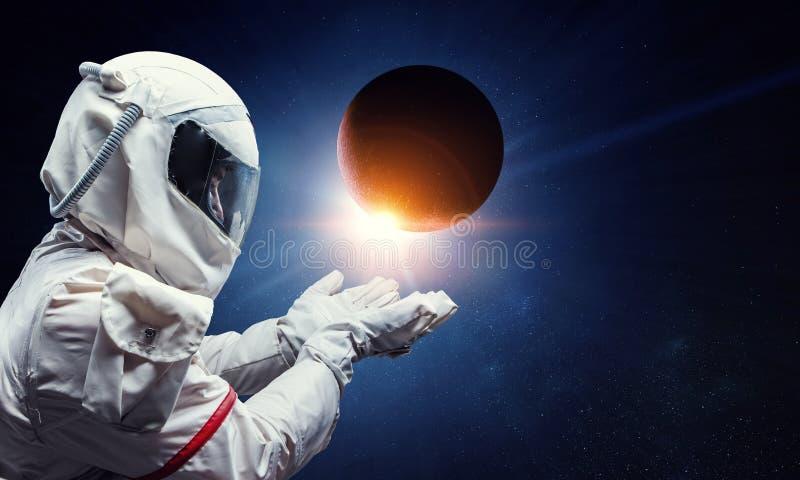 太空人和他的使命 r 库存照片