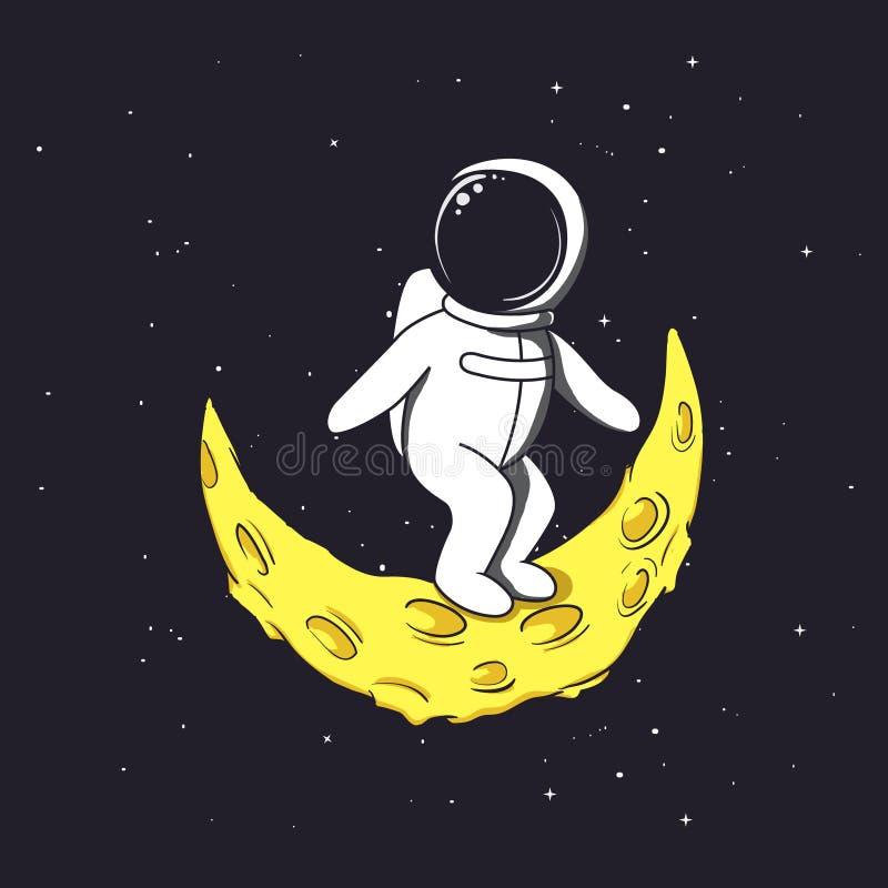 太空人在新月形月亮站立 皇族释放例证