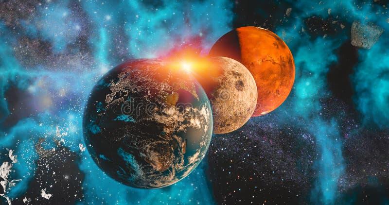 太空旅行在太空星群的背景地球的太阳系地球、月亮和火星行星概念、月亮和火星和银河 向量例证