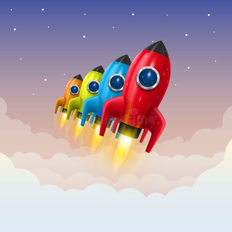太空火箭发射,创造性的想法 向量例证