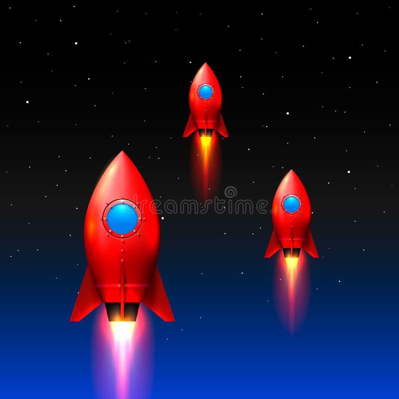 太空火箭发射,创造性的想法 库存例证