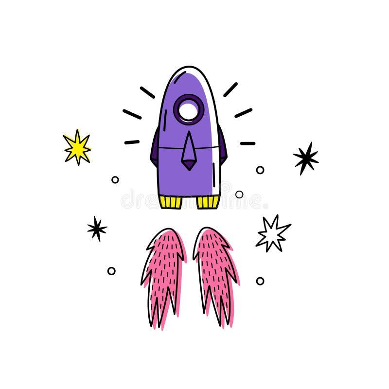 太空火箭和星的传染媒介例证 乱画样式 颜色 空间背景 向量例证