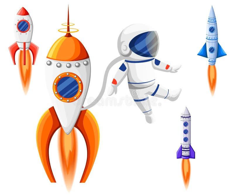 太空火箭开始和发射标志新的企业创新发展平的设计象被设置的模板传染媒介例证 向量例证