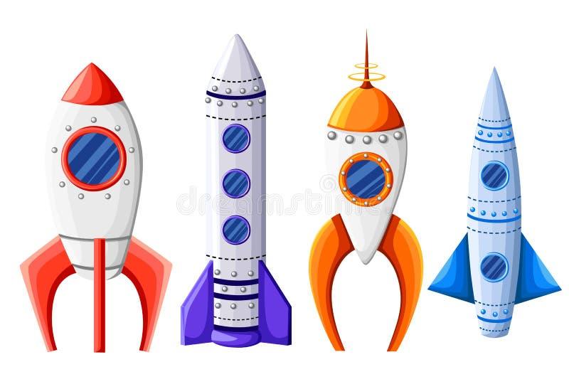 太空火箭开始和发射标志新的企业创新发展平的设计象被设置的模板传染媒介例证 皇族释放例证