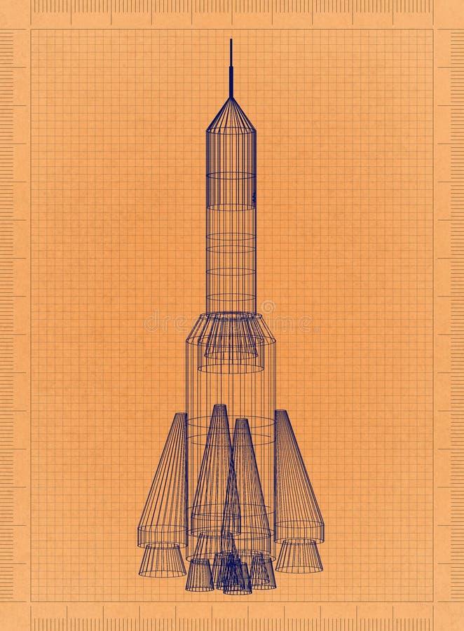 太空火箭-减速火箭的图纸 库存例证