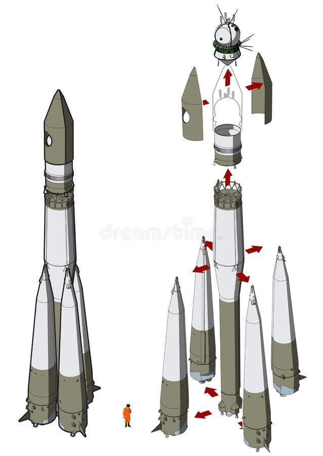 太空火箭infographics 库存例证