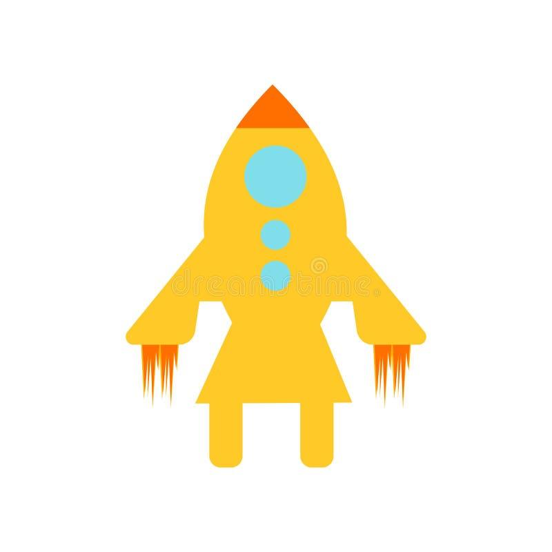 太空船象在白色背景和标志隔绝的传染媒介标志,太空船商标概念 向量例证