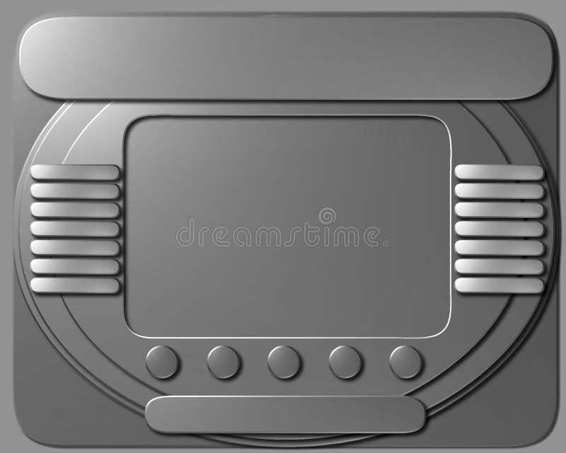 太空飞船与黑屏的控制板 库存例证