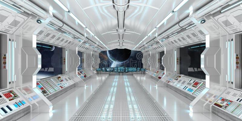 太空飞船内部有在遥远的行星系统3D的看法回报 皇族释放例证