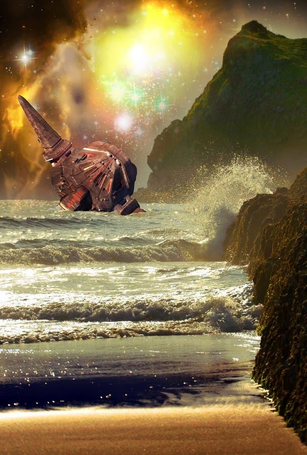 太空飞船击毁 向量例证