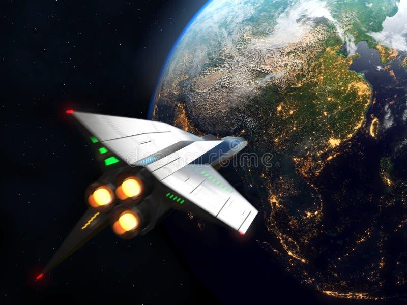 太空飞船到达对地球 美国航空航天局装备的这个图象的元素 向量例证