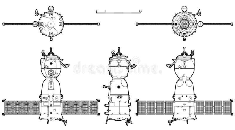 太空飞船向量 库存例证