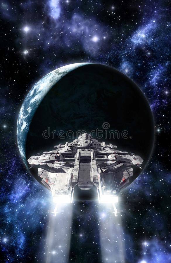 太空飞船和行星 库存例证