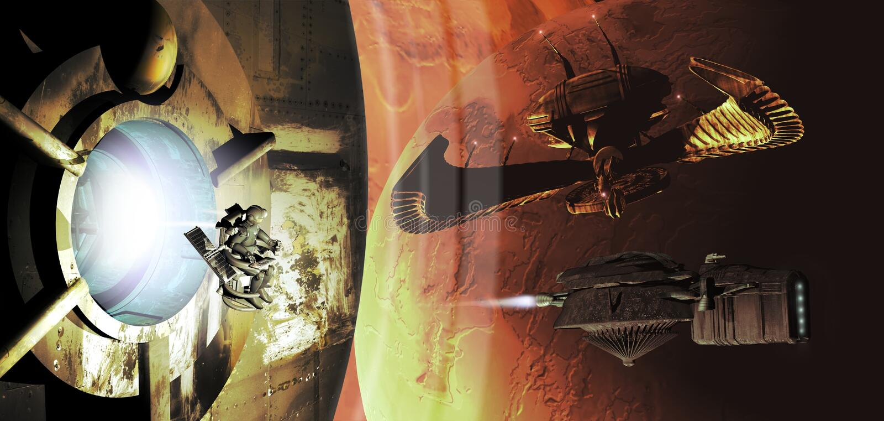 太空飞船和行星 皇族释放例证