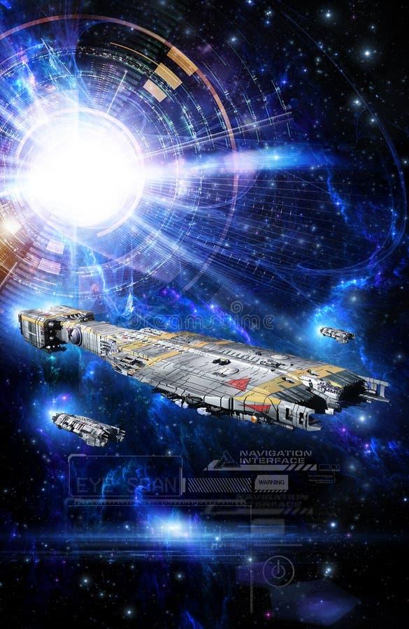 太空飞船和interfarce 皇族释放例证