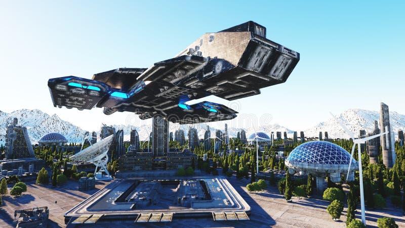 太空飞船在一个未来派城市,镇 未来的概念 鸟瞰图 3d翻译 皇族释放例证