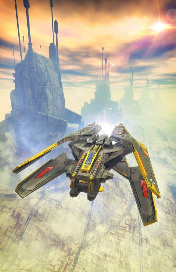 太空飞船战斗机和城市塔 库存例证