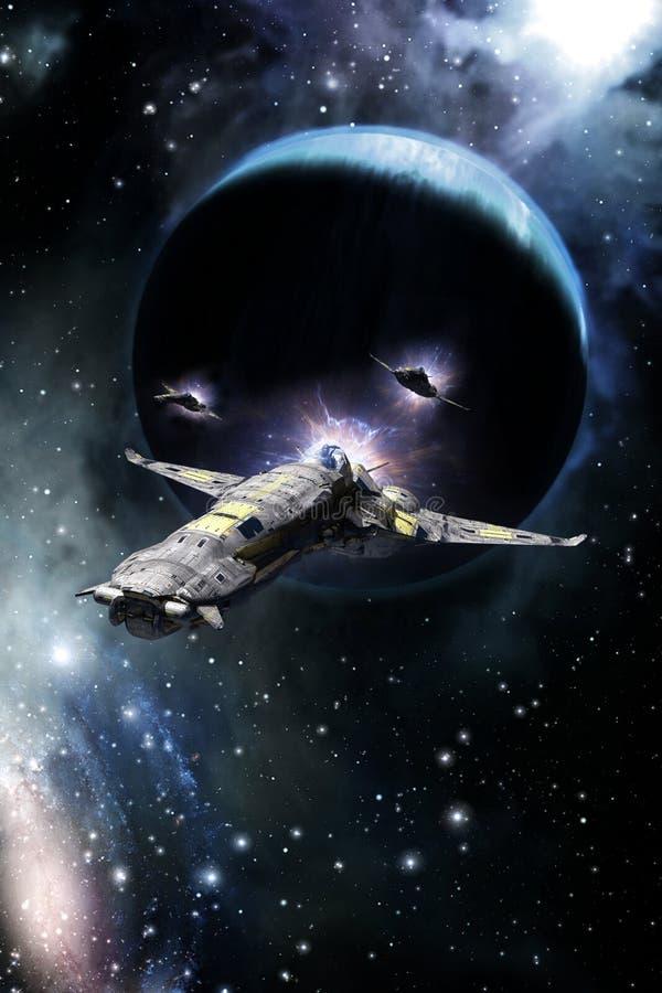 太空飞船战斗机和气体行星 向量例证
