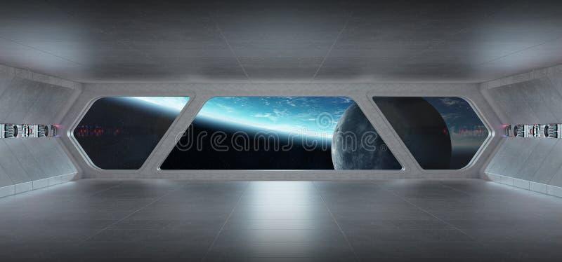 太空飞船未来派灰色蓝色内部有在行星Eart的看法 库存例证