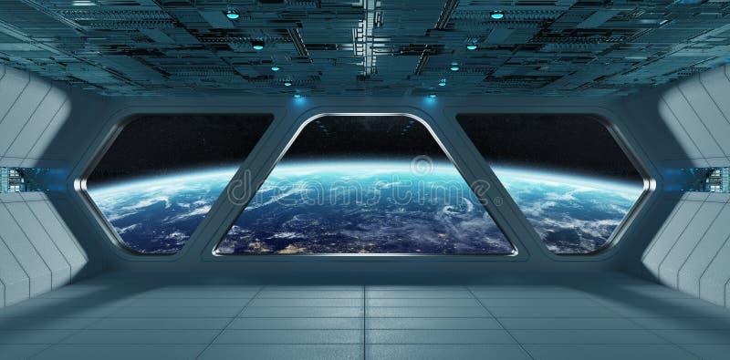 太空飞船未来派灰色蓝色内部有在行星Eart的看法 皇族释放例证
