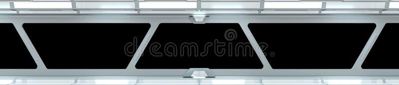 太空飞船白色走廊3D翻译 皇族释放例证