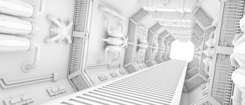 太空飞船的内部 皇族释放例证