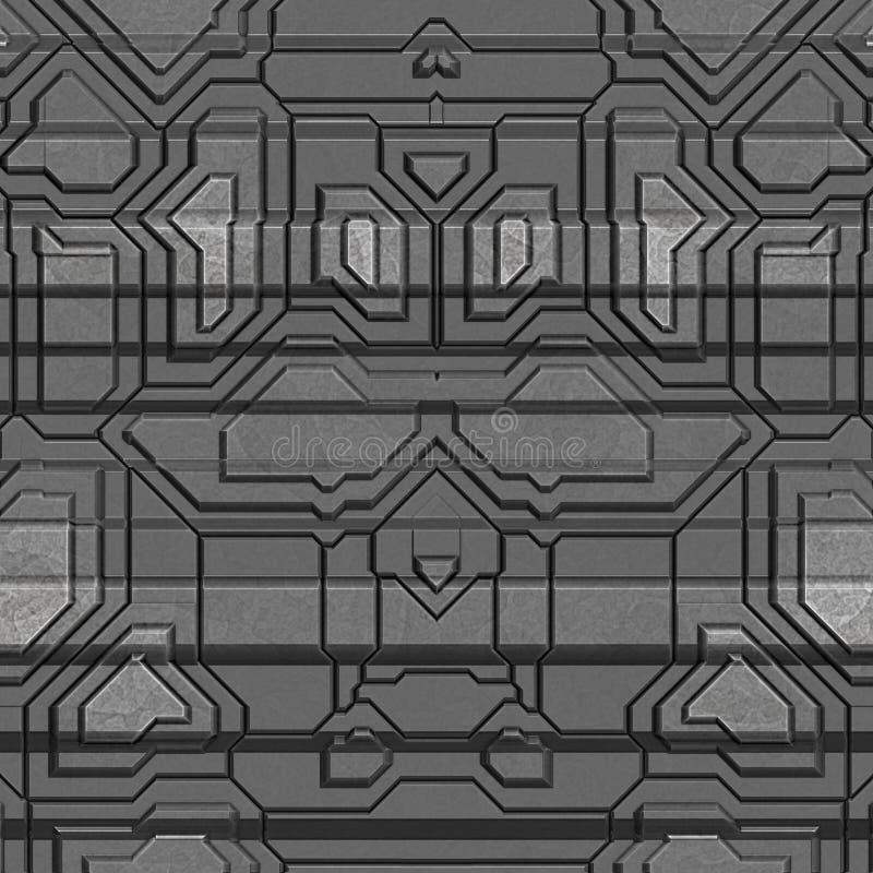太空飞船船身纹理或样式 无缝的科学幻想小说盘区 r 向量例证