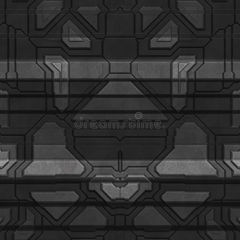 太空飞船船身纹理或样式 无缝的科学幻想小说盘区 r 皇族释放例证